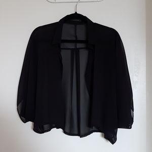 Black chic sheer batwing top - XS, S, M